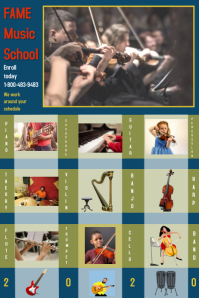 music academy/school/arts/learn instrument Banner 4 × 6 Fuß template