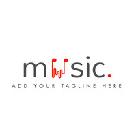 Music alphanumeric icon logo template design Logótipo