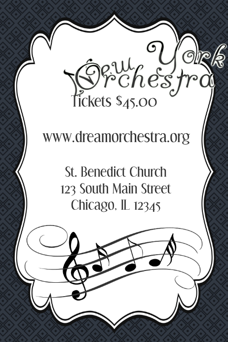 Music Band Orchestra Piano Concert Event Flyer Poster Template ...
