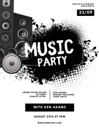 Music bass party flyer template