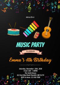 Music birthday invitation A6 template