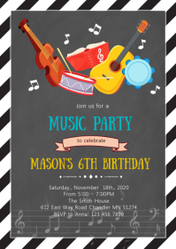Music birthday party invitation