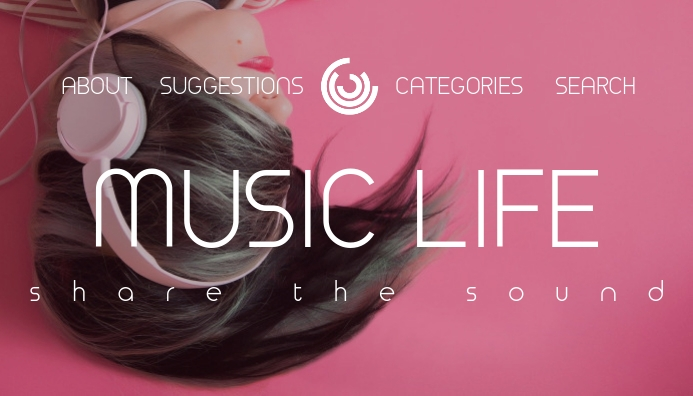 music blog header pink background template