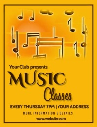 Music classes, music,international jazz day Volante (Carta US) template