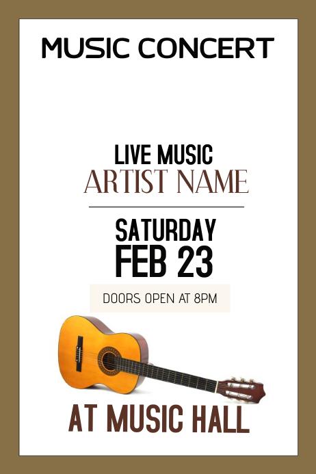 music concert portrair guitar template