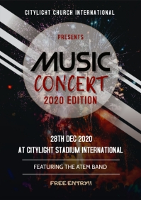 music concert poster A3 template