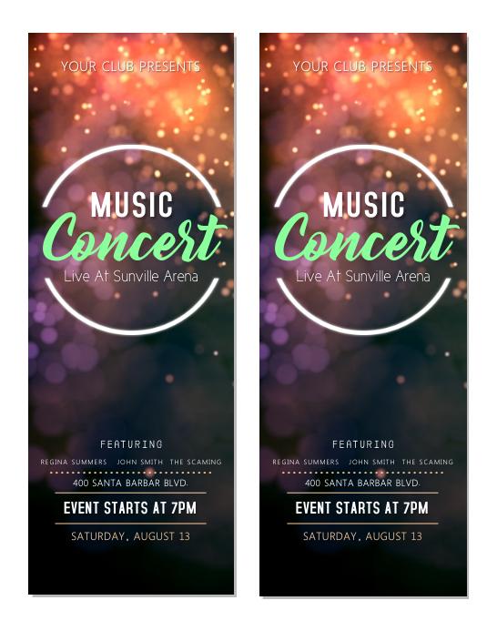 Music Concert Tickets Template
