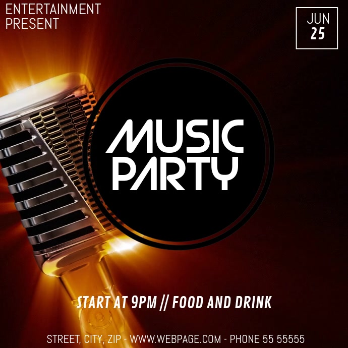 Music event party video flyer template