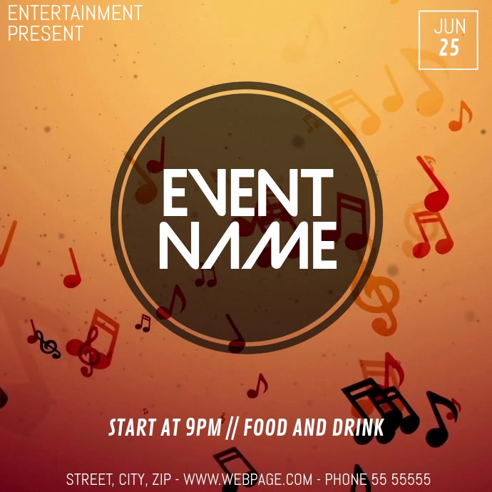 Music Event video flyer template