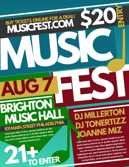 Music Fest Pamflet (Letter AS) template