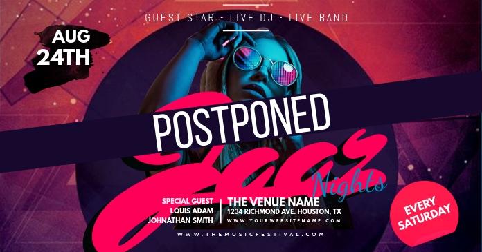Music Festival Canceled Social Media Post รูปภาพที่แบ่งปันบน Facebook template