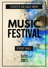 Music Festival Concert Band Notes Flower Event Poster Flyer
