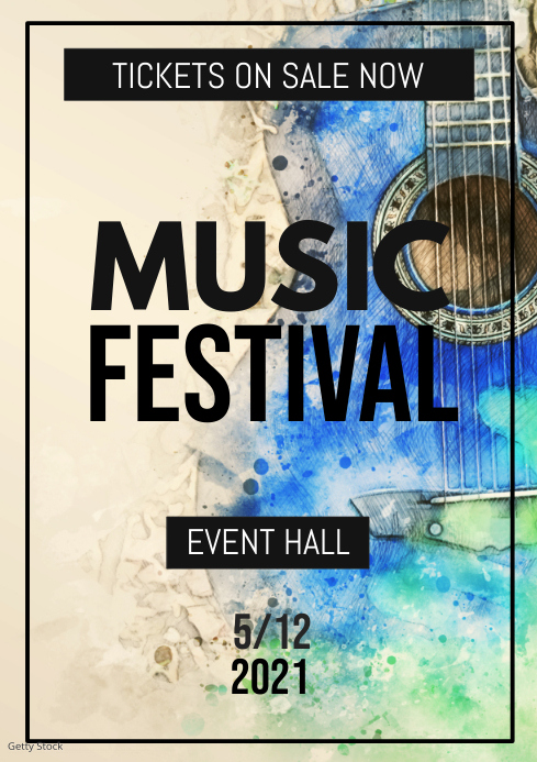 Music Festival Concert Band Notes Flower Event Poster Flyer