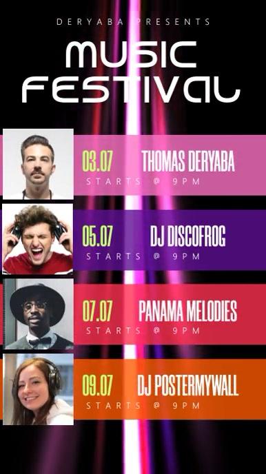Music Festival Fest Band Event Story Schedule เรื่องราวบน Instagram template