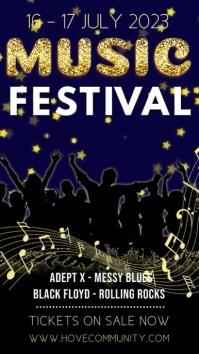 Music Festival Video Template Pantalla Digital (9:16)