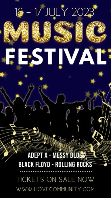 Music Festival Video Template Ecrã digital (9:16)
