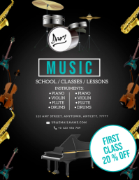 MUSIC INSTRUMENT LESSONS CLASS Flyer Template Folheto (US Letter)