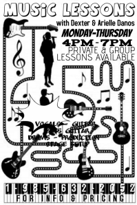 Rock Music Instrument Vocal Lessons Flyer Ad Poster Sign
