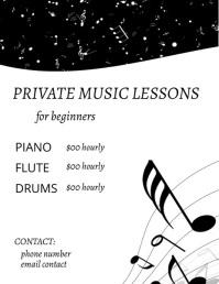 Music Lessons Folheto (US Letter) template