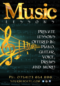 Music Lessons Flyer A4 template