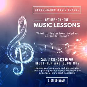 Music Lessons Instagram Post Template Quadrado (1:1)