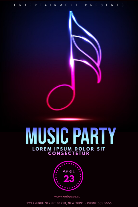 music neon party flyer template postermywall