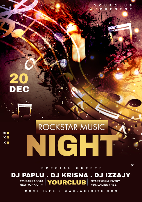 Music Night club Flyer A4 template