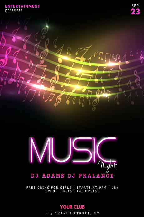 Music Night concert flyer template