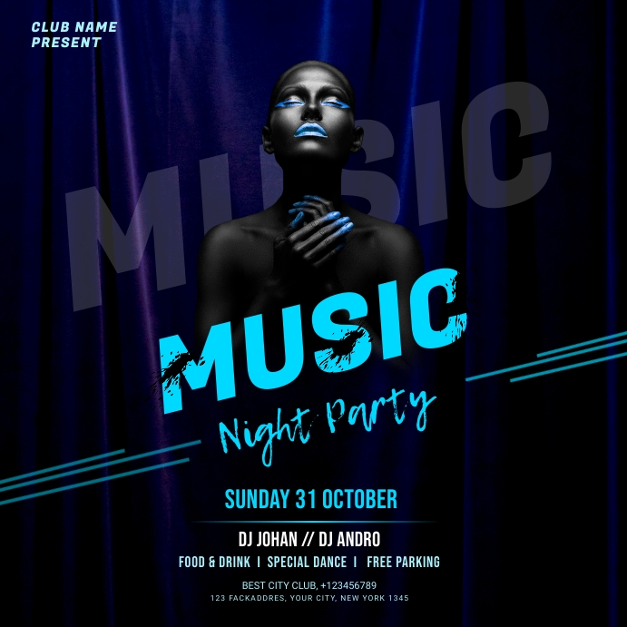 Music Night flyer Instagram na Post template