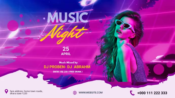 Music Night party Twitter Post Template