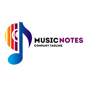 Music Notes logo Logotipo template