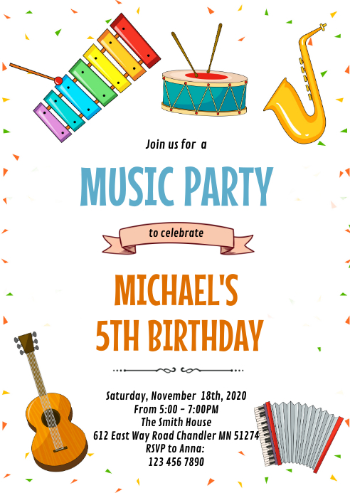 Music party birthday theme invitation A6 template