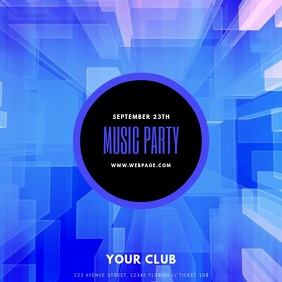 Music Party blue video advertising template for instagram