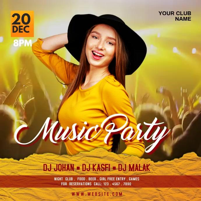 Music party โพสต์บน Instagram template