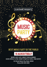 Music Party Flyer A6 template
