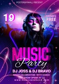Music Party Social Media Templates A4