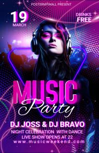 Music Party Social Media Templates Полстраницы широкого формата