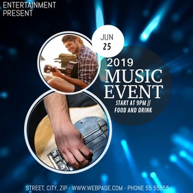 Music party video flyer template Square (1:1)