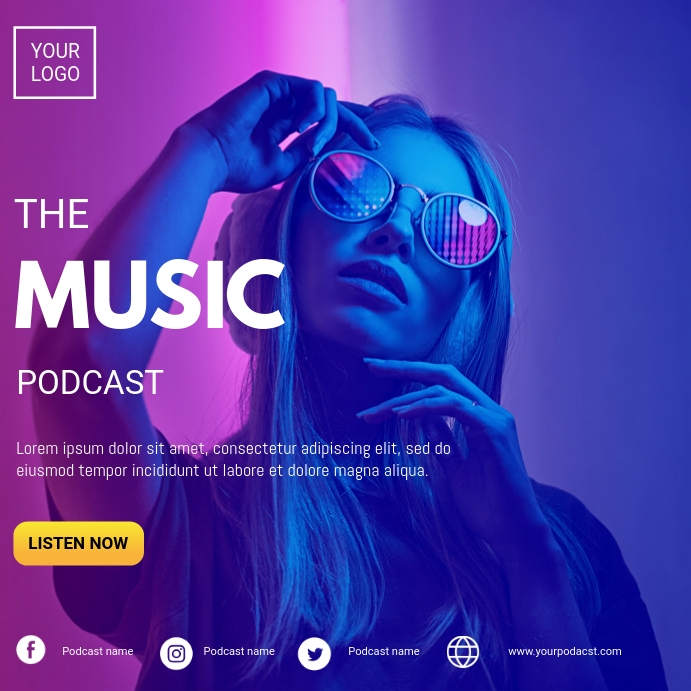 Music podcast Instagram Post template