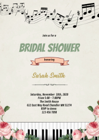 Music rose piano shower theme invitation