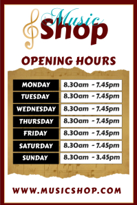 Music Shop opening schedule Poster Template