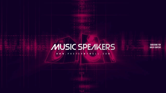 Sjabloon Muziek Speakers Youtube Channel Art Banner Postermywall