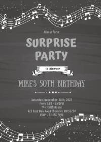 Music theme party invitation A6 template