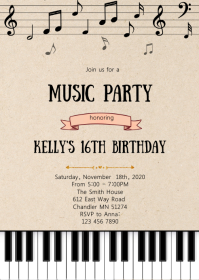 Music theme party invitation