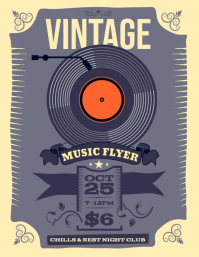 Music Vintage Night Flyer Volantino (US Letter) template