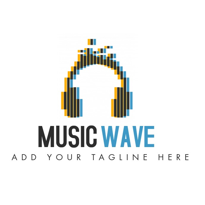 music wave yellow blue and grey logo icon template