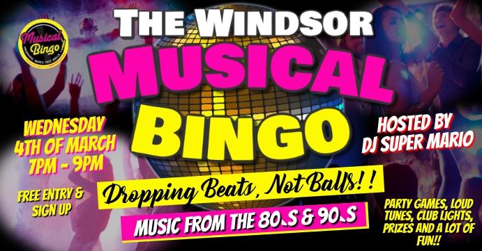 Musical Disco Bingo Portada de evento de Facebook template