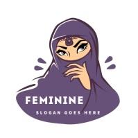 muslim diva lady niqab hijab ninja logo template