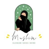 muslim niqab girl abaya islamic feminine logo template