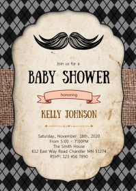 Mustache baby shower party invitation